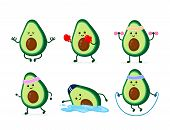 Cute Smiling Happy Strong Avocado Health And Fitness Set.vector Flat Cartoon Character Illustration  poster