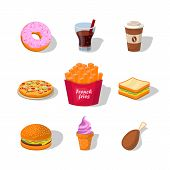 Flat Fast Food Colorful Illustrations Vector Isolated On White Background. Fast Food Hamburger Dinne poster