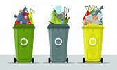 Garbage Cans Isolated On White Background. Ecology And Recycle Concept. Sorting Garbage. Garbage Rec poster