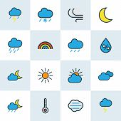 Climate Icons Colored Line Set With Midnight, Frosty, Cloudy Day And Other Sunshine Elements. Isolat poster
