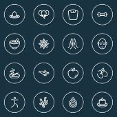 Spiritual Icons Line Style Set With Lamp, Prayer, Dumbbell And Other Indian Man Elements. Isolated   poster