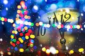 Christmas Tree With New Year Clock Before Midnight poster