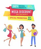 Exclusive Product Mega Discount Buy Now Promotion Only One Day. Smiling Shopping Clients With Bags A poster