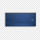 Blue Horizontal Note Book Icon. Realistic Illustration Of Blue Horizontal Note Book Vector Icon For  poster