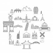 Recreation Area Icons Set. Outline Set Of 25 Recreation Area Vector Icons For Web Isolated On White  poster