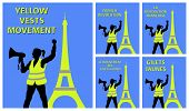 Yellow Vests Protester Woman With Hailer In Front Of Eiffel Tower. All The Objects Are In Different  poster