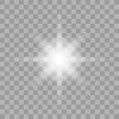 Sparkling Magical Dust Particles. Bright Star. Transparent Shining Sun, Bright Flash. Vector Sparkle poster