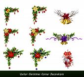 Christmas Decoration Set With Evergreen Treess Pine Cones And Poinsettia Isolated Vector poster