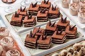 Cakes Tiramisu With Chocolate, Cocoa And Candies On Holiday Background. Delicious Dessert And Candy  poster