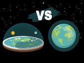 Theory Of Flat Earth. Flat Earth In Space With Sun And Moon Vs Spherical Earth. Vector Illustration. poster