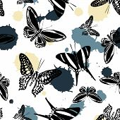 Pretty Seamless Butterfly Kite Background With Blotter On White. Nature Butterfly Hover Theme Vector poster