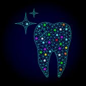 Glossy Polygonal Mesh Excellent Tooth Icon With Glare Effect On A Dark Background. Carcass Excellent poster