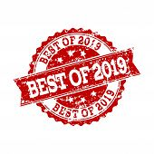 Grunge Red Best Of 2019 Stamp Seal. Vector Best Of 2019 Rubber Seal With Grunge Effect. Isolated Red poster