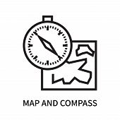 Map And Compass Orientation Tools Icon Isolated On White Background. Map And Compass Orientation Too poster