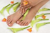 pic of toe nail  - Spa treatment with beautiful lilies - JPG