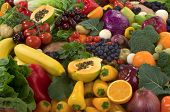 stock photo of vegetable food fruit  - Organic healthy vegetables and fruits - JPG