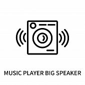 Music Player Big Speaker Icon Isolated On White Background. Music Player Big Speaker Icon Simple Sig poster