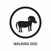 Walking Dog Icon Isolated On White Background. Walking Dog Icon Simple Sign. Walking Dog Icon Trendy poster