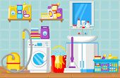 Bathroom And Laundry Room Concept. Washing Machine. House Cleaning Tools. Household Water Filtration poster