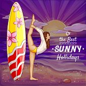 Pop Art Surfing Girl On Holidays Doing Yoga On The Sand Beach. Background With Flexible Woman In Bik poster