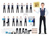 Business Man Vector Character Creation Set With Male Office Person With Pose And Hand Gestures For B poster