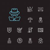 Legal Icons Set. Detective And Legal Icons With Labor, Cowboy And Scroll. Set Of Contact For Web App poster