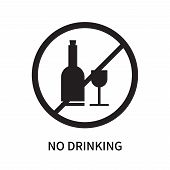 No Drinking Icon Isolated On White Background. No Drinking Icon Simple Sign. No Drinking Icon Trendy poster