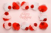Paper Cupcakes Garland And Happy Birthday Lettering On Pink Background. Party And Celebration Concep poster