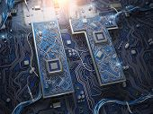 Information Technology IT text in form of computer chips with CPU. 3d illustration poster
