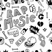 Rap Music. Hip Hop Doodle Pattern With Rap Attributes, Weapons, Money poster