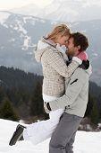 Постер, плакат: Молодая пара на зимние каникулы