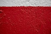 White And Red Painted Wall Photo. Painted Brushed Texture. Grungy Concrete Wall Closeup. Rustic Arch poster