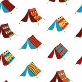 Teepee Tents Seamless Vector Pattern Background. Hand Drawn Boho Camping Tents. Camping Collection.  poster