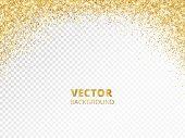 Sparkling Glitter Border, Frame. Falling Golden Dust Isolated On Transparent. Vector Gold Glittering poster