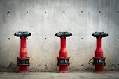 Three Fire Safety Pump On Cement Floor Of Concrete Building. Deluge System Of Firefighting System. P poster