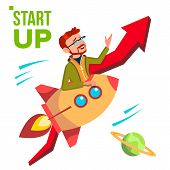 Startup Vector. Rocket Soars Up On Background Of Red Arrow Growthing Up. Businessman Enjoying Good S poster