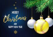 Merry Christmas And Happy New Year. Sports Greeting Card. Softball Ball As A Christmas Ball. Vector  poster