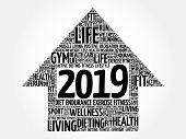 2019 Goals Arrow Word Cloud, Health Concept Background poster