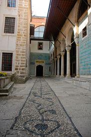 image of eunuch  - Courtyard of the Eunuchs in the Harem of Topkapi Palace in Istanbul Turkey - JPG
