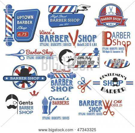 Picture or Photo of Set of Barber Shop Signs, Symbols and Icons in CMYK red, blue, white and black, featuring the popular symbols like barber shop pole, razor, scissors and mustache