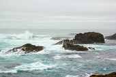 stock photo of mendocino  - Surf over reef at Mendocino Headlands State Park - JPG