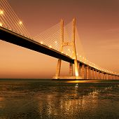 Sunrise On Famous Vasco Da Gama Bridge