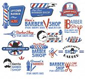 Set of Barber Shop Signs, Symbols and Icons in CMYK red, blue, white and black, featuring the popula