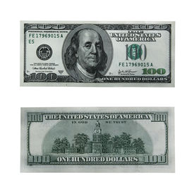 picture of one hundred dollar bill  - both sides of the hundred dollar bill isolated on white with clipping path  - JPG