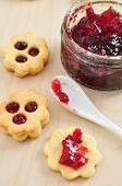stock photo of augen  - Traditional Linzer Cookies with sugar and jam - JPG