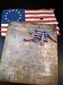 foto of revolutionary war  - The Declaration of Independence with red - JPG