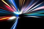 stock photo of acceleration  - abstract acceleration speed motion on night road - JPG