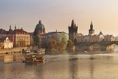 Autumn Landscape With Charles Bridge In Prague