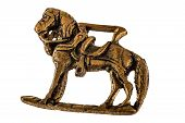 foto of metal sculpture  - an ancient horse metal sculpture isolated on a white background - JPG