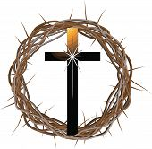 picture of crown-of-thorns  - A vector drawing of a crown made of thorns with a cross in front of it - JPG